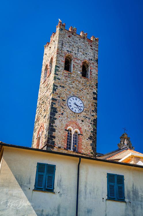 Historic clock tower at the church of San Giovanni Battista, Monterosso al Mare, Cinque Terre, Liguria, Italy