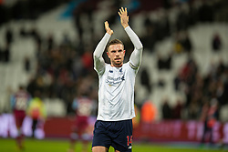 LONDON, ENGLAND - Wednesday, January 29, 2020: Liverpool's captain Jordan Henderson celebrates after the FA Premier League match between West Ham United FC and Liverpool FC at the London Stadium. Liverpool won 2-0.  (Pic by David Rawcliffe/Propaganda)