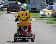 David W. Smith/ Daily News<br /> Tom Schmoyer from Macungie, PA tours around on his motorized lawn chair during the Hot Rod Reunion Thursday at Beech Bend Campground.