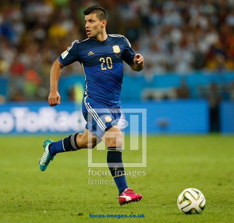 Sergio Aguero of Argentina in action during the 2014 FIFA World Cup Final match at Maracana Stadium, Rio de Janeiro<br /> Picture by Andrew Tobin/Focus Images Ltd +44 7710 761829<br /> 13/07/2014