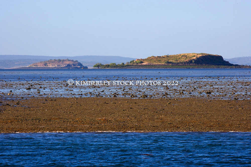 The High Cliffy Islands are visible over Montgomery Reef. On a falling tide the reef appears to rise from the ocean as water flows off the reef.  At 292km2, Montgomery is Australia's largest inshore reef.