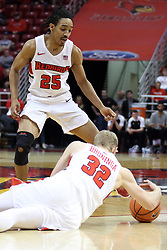 07 January 2018:  Madison Williams watches as Taylor Bruninga dives for a loose ball during a College mens basketball game between the Missouri State Bears and Illinois State Redbirds in Redbird Arena, Normal IL