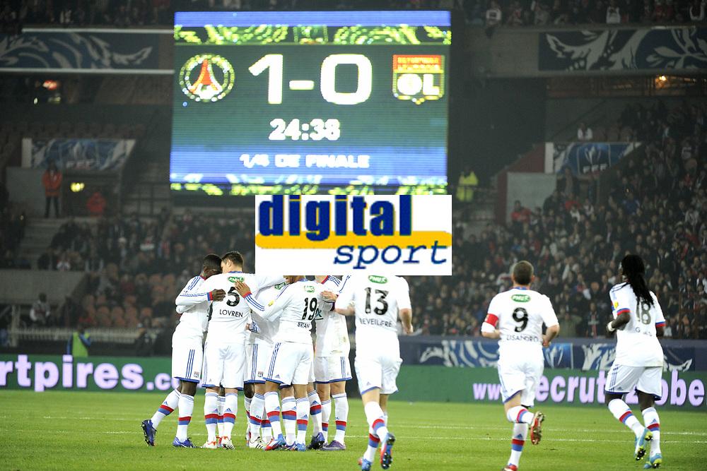FOOTBALL - FRENCH CUP 2011/2012 - 1/4 FINAL - PARIS SAINT GERMAIN v OLYMPIQUE LYONNAIS - 21/03/2012 - PHOTO JEAN MARIE HERVIO / REGAMEDIA / DPPI - JOY LYON AFTER THE KIM KALLSTROM'S GOAL