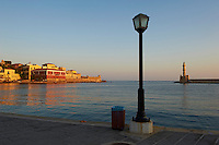 Grece, Crete, Chania (La canée), le port Venitien et le phare// Greece, Crete island, Chania, Venetian port and lighthouse