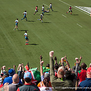 Kenya fans watch Kenya defeat France 14-17 in the challenge trophy semi finals of the USA Sevens,  Round Five of the World Rugby HSBC Sevens Series in Las Vegas, Nevada, Sunday March 5, 2017. <br /> <br /> Jack Megaw for USA Sevens.<br /> <br /> www.jackmegaw.com<br /> <br /> jack@jackmegaw.com<br /> @jackmegawphoto<br /> [US] +1 610.764.3094<br /> [UK] +44 07481 764811
