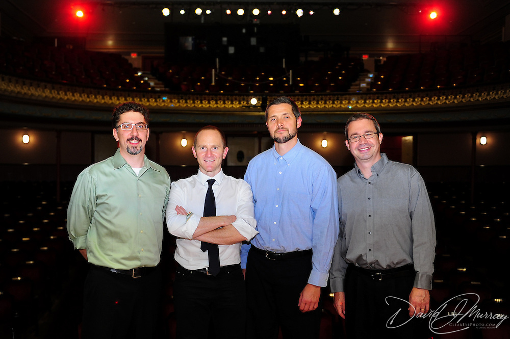 Author Chris Cleave and the show band after a Writers on a New England Stage show at The Music Hall in Portsmouth, NH
