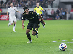 November 1, 2018 - Los Angeles, California, U.S - Carlos Vela #10 of the LAFC wins the ball during their MLS playoff game with the Real Salt Lake on Thursday November 1, 2018 at Banc of California Stadium in Los Angeles, California. LAFC vs Real Salt Lake. (Credit Image: © Prensa Internacional via ZUMA Wire)