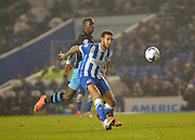 Brighton central defender, Connor Goldson (17) and Sheffield Wednesday striker Lucas Joao (18) during the Sky Bet Championship match between Brighton and Hove Albion and Sheffield Wednesday at the American Express Community Stadium, Brighton and Hove, England on 8 March 2016. Photo by Adam Rivers.