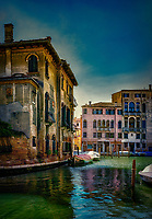 """In the late afternoon the sun penetrates through ancient abandoned buildings along the Santa Fosca Canal in Venice""...<br />