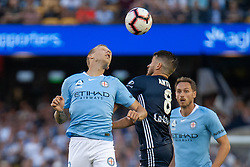 February 23, 2019 - Melbourne, VIC, U.S. - MELBOURNE, VIC - FEBRUARY 23: Melbourne City defender Ritchie de Laet (2) competes for the header at round 20 of the Hyundai A-League Soccer between Melbourne City FC and Melbourne Victory on February 23, 2019 at Marvel Stadium, VIC. (Photo by Speed Media/Icon Sportswire) (Credit Image: © Speed Media/Icon SMI via ZUMA Press)