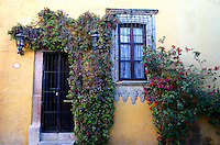 Vines surround doorway and window of this home in San Miguel de Allende Mexico