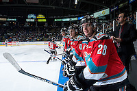 KELOWNA, CANADA - NOVEMBER 11: Joe Gatenby #28 of Kelowna Rockets stands on the bench against the Vancouver Giants on November 11, 2015 at Prospera Place in Kelowna, British Columbia, Canada.  (Photo by Marissa Baecker/ShoottheBreeze)  *** Local Caption *** Joe Gatenby;