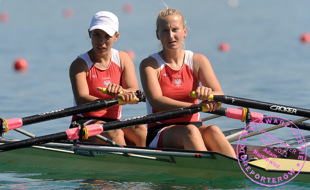 (L) MAGDALENA FULARCZYK & (R) NATALIA MADAJ (BOTH POLAND) COMPETE AT WOMEN'S DOUBLE SCULLS HEAT DURING DAY 1 FISA ROWING WORLD CUP ON ESTANY LAKE IN BANYOLES, SPAIN...BANYOLES , SPAIN , MAY 29, 2009..( PHOTO BY ADAM NURKIEWICZ / MEDIASPORT )..PICTURE ALSO AVAIBLE IN RAW OR TIFF FORMAT ON SPECIAL REQUEST.