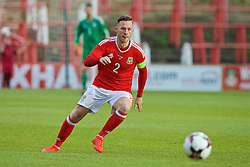 WREXHAM, WALES - Friday, September 2, 2016: Wales' captain Gethin Jones in action against Denmark during the UEFA Under-21 Championship Qualifying Group 5 match at the Racecourse Ground. (Pic by Paul Greenwood/Propaganda)