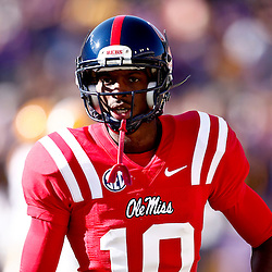 November 17, 2012; Baton Rouge, LA, USA  Ole Miss Rebels wide receiver Vince Sanders (10) during warm ups prior to kickoff of a game against the LSU Tigers at Tiger Stadium. LSU defeated Ole Miss 41-35. Mandatory Credit: Derick E. Hingle-US PRESSWIRE
