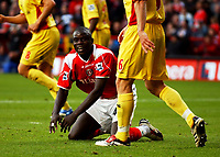 Photo: Olly Greenwood.<br />Charlton Athletic v Watford. The Barclays Premiership. 21/10/2006. Charlton's Amady Faye can't beleive he is'nt awarded a penalty after a foul from Watford's Hameur Bouazza.