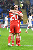 Football - 2019 / 2020 International Friendly - Wales vs. Belarus<br /> <br /> Daniel James of Wales celebrates scoring his team's first goal with Jonathan Williams of Wales, at Cardiff City Stadium.<br /> <br /> COLORSPORT/WINSTON BYNORTH
