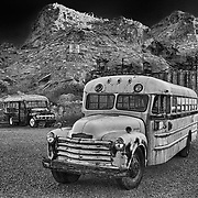 Abandoned School Buses - Eldorado Canyon Techatticup Mine - Nelson NV - HDR -  Infrared Black & White