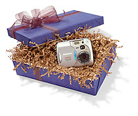 Olympus Camedia camera gift box on white background
