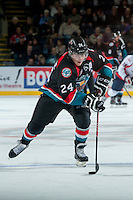 KELOWNA, CANADA, OCTOBER 16 -  Tyson Baillie #24 of the Kelowna Rockets skates with the puck against the Lethbridge Hurricanes on Wednesday, October 16, 2013 at Prospera Place in Kelowna, British Columbia (photo by Marissa Baecker/Getty Images)***Local Caption***