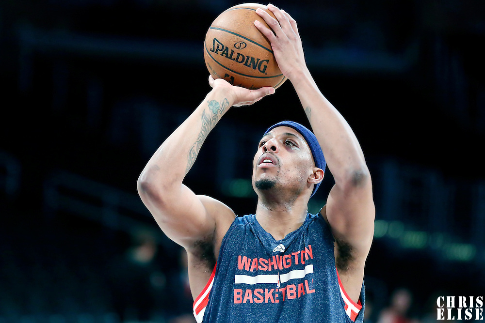 27 January 2015:  Washington Wizards forward Paul Pierce (34) warms up prior to the Washington Wizards 98-92 victory over the Los Angeles Lakers, at the Staples Center, Los Angeles, California, USA.