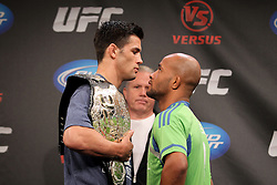 September 29, 2011; Washington D.C.; USA; UFC Bantamweight Champion Dominick Cruz (left) and Demetrius Johnson (right) pose at the final press conference for their upcoming bout at UFC on Versus 6.
