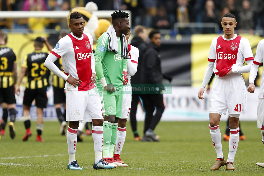 (L-R) Mateo Cassierra of Ajax, goalkeeper Andre Onana of Ajax, Noussair Mazraoui of Ajax during the Dutch Eredivisie match between Vitesse Arnhem and Ajax Amsterdam at Gelredome on March 04, 2018 in Arnhem, The Netherlands