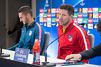 Atletico de Madrid's Koke Resurrection and coach Diego Simeone attends to press conference before UEFA Champions League match between Atletico de Madrid and Chelsea at Wanda Metropolitano in Madrid, Spain September 26, 2017. (ALTERPHOTOS/Borja B.Hojas)
