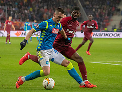 14.03.2019, Red Bull Arena, Salzburg, AUT, UEFA EL, FC Red Bull Salzburg vs SSC Napoli, Achtelfinale, Rückspiel, im Bild v.l. Arkadiusz Milik (SSC Napoli), Jerome Onguene (FC Salzburg) // during the UEFA Europa League round of 16, 2nd leg match between FC Red Bull Salzburg and SSC Napoli at the Red Bull Arena in Salzburg, Austria on 2019/03/14. EXPA Pictures © 2019, PhotoCredit: EXPA/ Johann Groder