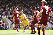 Millwall FC forward Lee Gregory (9) scores a goal and celebrates to make the score 1-1 during the Sky Bet League 1 play off first leg match between Bradford City and Millwall at the Coral Windows Stadium, Bradford, England on 15 May 2016. Photo by Simon Davies.