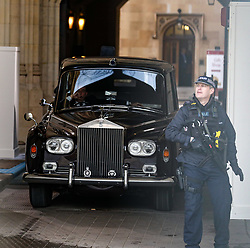 © Licensed to London News Pictures. 18/12/2019. State Opening of Parliament rehearsal yesterday 18/12/2019 London, UK. As the Rolls Royce which will be used by the Queen enters Parliament at The Sovereign's Entrance a slight hiccup occurs as the gates became stuck and a sledge hammer had to be used to open them . Photo credit: Alex Lentati/LNP