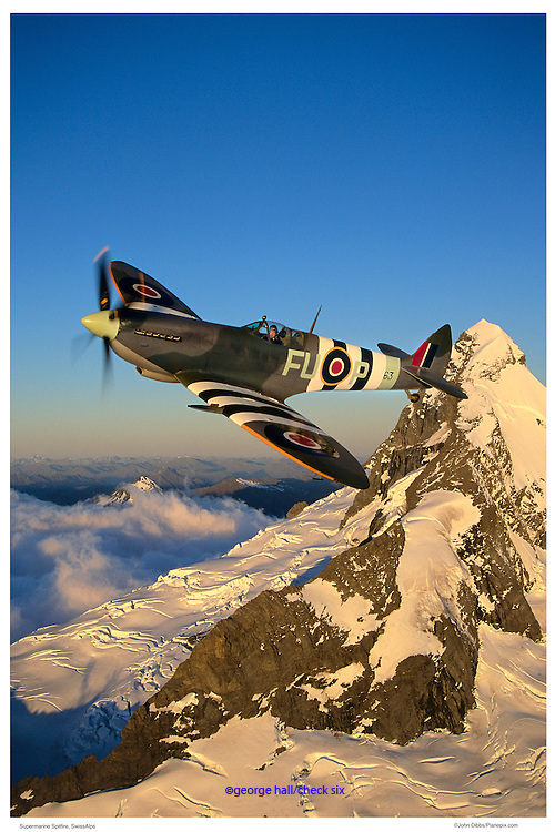 Spitfire flying over the Alps, air-to-air