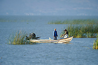 Fishermen at work on Lake Chapala, Ajijic, Jalisco, Mexico