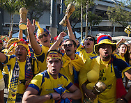 Ecuador fans gather outside the stadium before the 2014 FIFA World Cup Group E match at Maracana Stadium, Rio de Janeiro<br /> Picture by Andrew Tobin/Focus Images Ltd +44 7710 761829<br /> 25/06/2014
