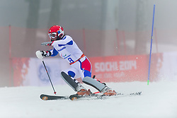 Marie Bochet competing in the Alpine Skiing Super Combined Slalom at the 2014 Sochi Winter Paralympic Games, Russia