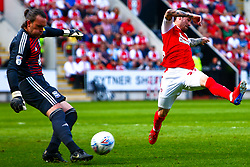 Ryan Williams of Rotherham United attempts to block a clearance by Lee Camp of Birmingham City - Mandatory by-line: Ryan Crockett/JMP - 22/04/2019 - FOOTBALL - Aesseal New York Stadium - Rotherham, England - Rotherham United v Birmingham City - Sky Bet Championship