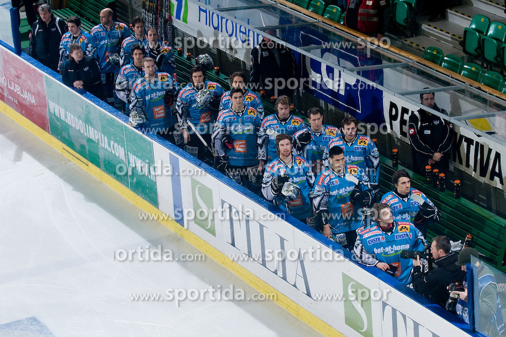 Team EHC Liwest Black Wings Linz during during national anthem before ice-hockey match between HDD Tilia Olimpija and EHC Liwest Black Wings Linz in 37th Round of EBEL league, on Januar 9, 2011 at Hala Tivoli, Ljubljana, Slovenia. (Photo By Matic Klansek Velej / Sportida.com)
