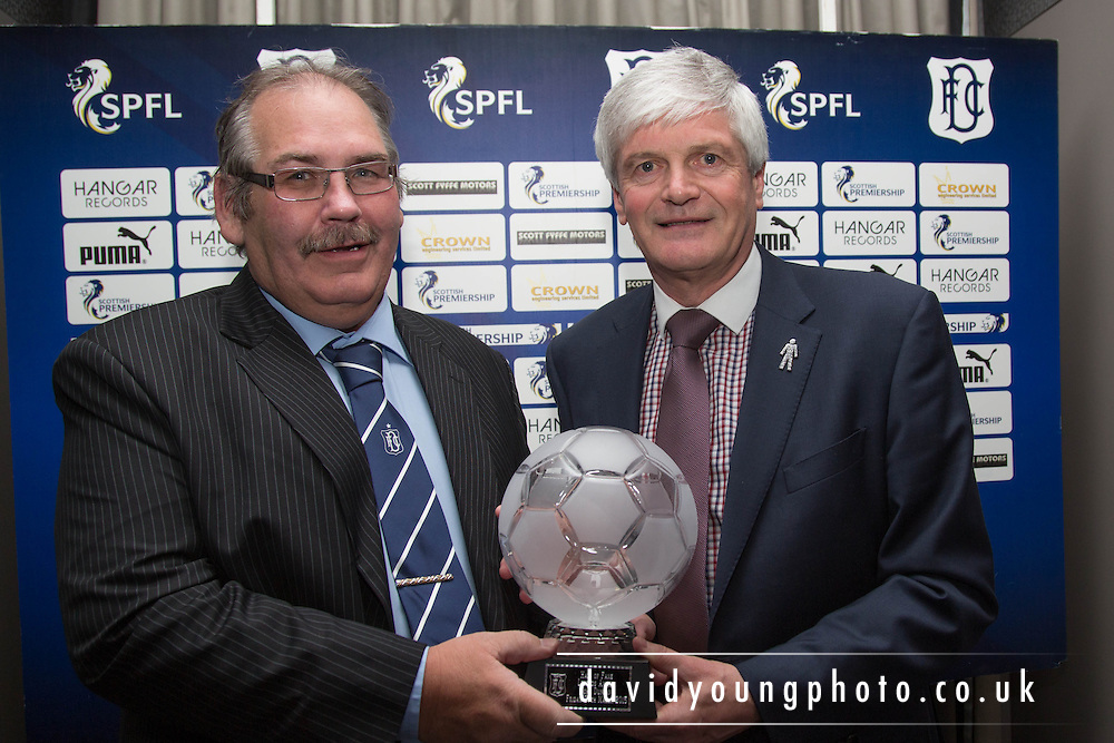 John Duncan receives his Legend award from Doug Robertson of sponsors Crown Engineering - DundeeFC Hall of Fame at the Apex Hotel<br /> <br />  - &copy; David Young - www.davidyoungphoto.co.uk - email: davidyoungphoto@gmail.com