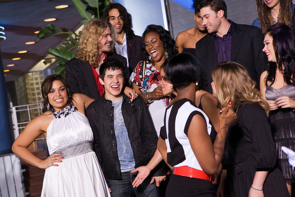 LAKE BUENA VISTA, FL - FEBRUARY 12: American Idol runner up jokes with former winner Jordin Sparks before a photo after the grand opening show of the American Idol Experience at Disney's Hollywood Studios In Walt Disney World on February 12, 2009 in Lake Buena Vista, Florida. (Photo by Matt Stroshane/Getty Images)