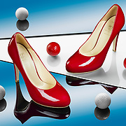 Reflections, red shoes and golf