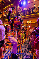 Goofy, Character dance party, in the lobby atrium on the new Disney Dream cruise ship sailing between Florida and the Bahamas.