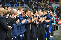Football - 2018 / 2019 Premier League - Cardiff City vs. Leicester City<br /> <br /> Leicester officials  line up after  a minute's silence in memory of Vichai Srivaddhanaprabha n Leicster's 1st match since the death of Vichai Srivaddhanaprabha, at Cardiff City Stadium.<br /> <br /> COLORSPORT/WINSTON BYNORTH