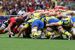 A general view of the scrum during the French Top 14 Semi Final match between ASM Clermont Auvergne and RC Toulon at the Stade de Toulouse on June 3, 2012 in Toulouse, France.