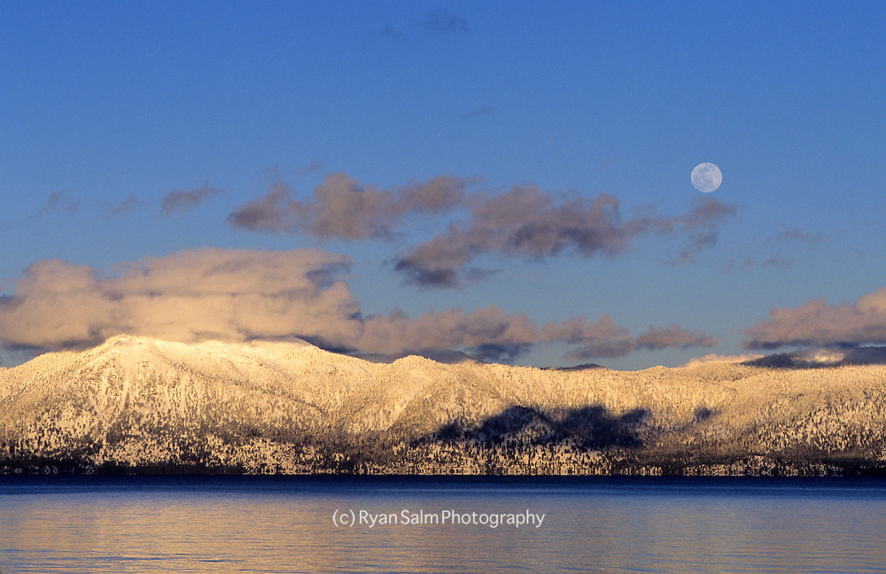 Lake Tahoe's East Shore at Moonrise