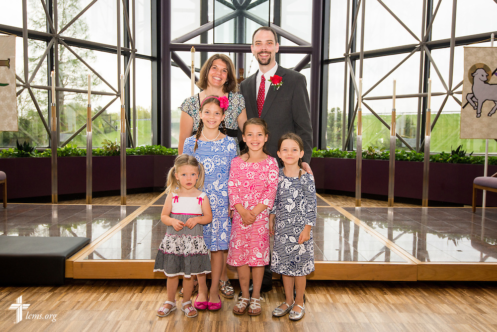 Group photograph of Christian J. Boehlke, director of Missionary Services at the LCMS, his wife Kristine, and his four children Evelyn, Lillian, Lydia, and Sophia, following a Service of Installation for Boehlke at the International Center of The Lutheran Church--Missouri Synod on Monday, April 28, 2014, in Kirkwood, Mo. LCMS Communications/Erik M. Lunsford