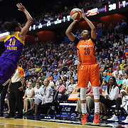 UNCASVILLE, CONNECTICUT- JULY 15: Alex Bentley #20 of the Connecticut Sun shoots for three as Kristi Toliver #20 of the Los Angeles Sparks defends during the Los Angeles Sparks Vs Connecticut Sun, WNBA regular season game at Mohegan Sun Arena on July 15, 2016 in Uncasville, Connecticut. (Photo by Tim Clayton/Corbis via Getty Images)