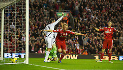 05.11.2011, Anfield Stadion, Liverpool, ENG, Premier League, FC Liverpool vs Swansea City, im Bild Liverpool's Dirk Kuyt celebrates scoring a goal but it is disallowed // during the premier league match between FC Liverpool vs Swansea City at Anfield Stadium, Liverpool, EnG on 05/11/2011. EXPA Pictures © 2011, PhotoCredit: EXPA/ Propaganda Photo/ David Rawcliff +++++ ATTENTION - OUT OF ENGLAND/GBR+++++