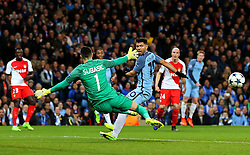 Sergio Aguero of Manchester City misses a chance from close range under pressure from Danijel Subasic of Monaco - Mandatory by-line: Matt McNulty/JMP - 21/02/2017 - FOOTBALL - Etihad Stadium - Manchester, England - Manchester City v AS Monaco - UEFA Champions League - Round of 16 First Leg
