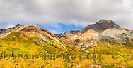 Composite panorama of Sheep Mountain and autumn colors in the Talkeetna Mountains of Southcentral Alaska. Afternoon.
