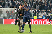 Manchester United Midfielder Paul Pogba applauds the Juventus fans at the end of the match during the Champions League Group H match between Juventus FC and Manchester United at the Allianz Stadium, Turin, Italy on 7 November 2018.